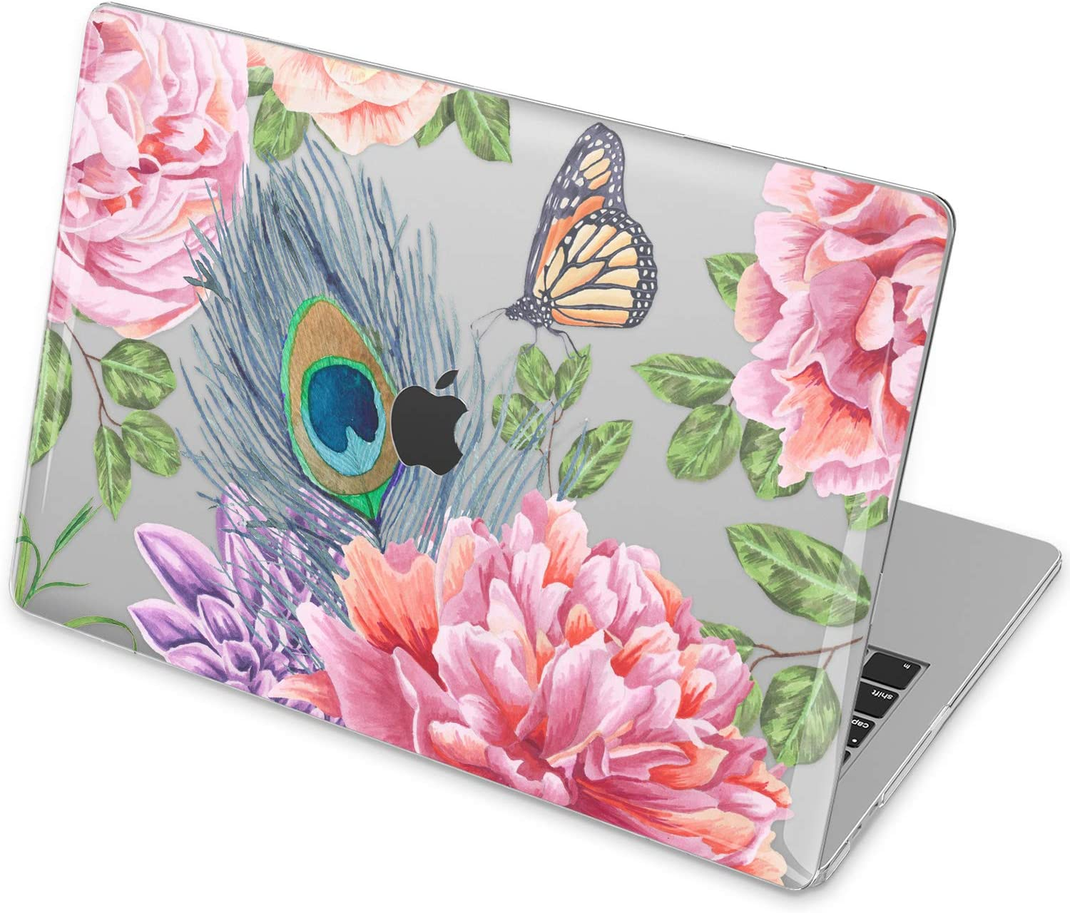 Vonna Hard Case Replacement for Apple MacBook Pro 16 2019 Pro 13 2020 Retina 15 Air 13 Mac Air 11 Mac 12 Design Luxury Vintage Print Feather Plastic Cover Roses Peacock Pink Flowers Touch Bar vm221