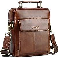 Sunmig Men's Genuine Leather Shoulder Bag Messenger Briefcase CrossBody Handbag (Brown)