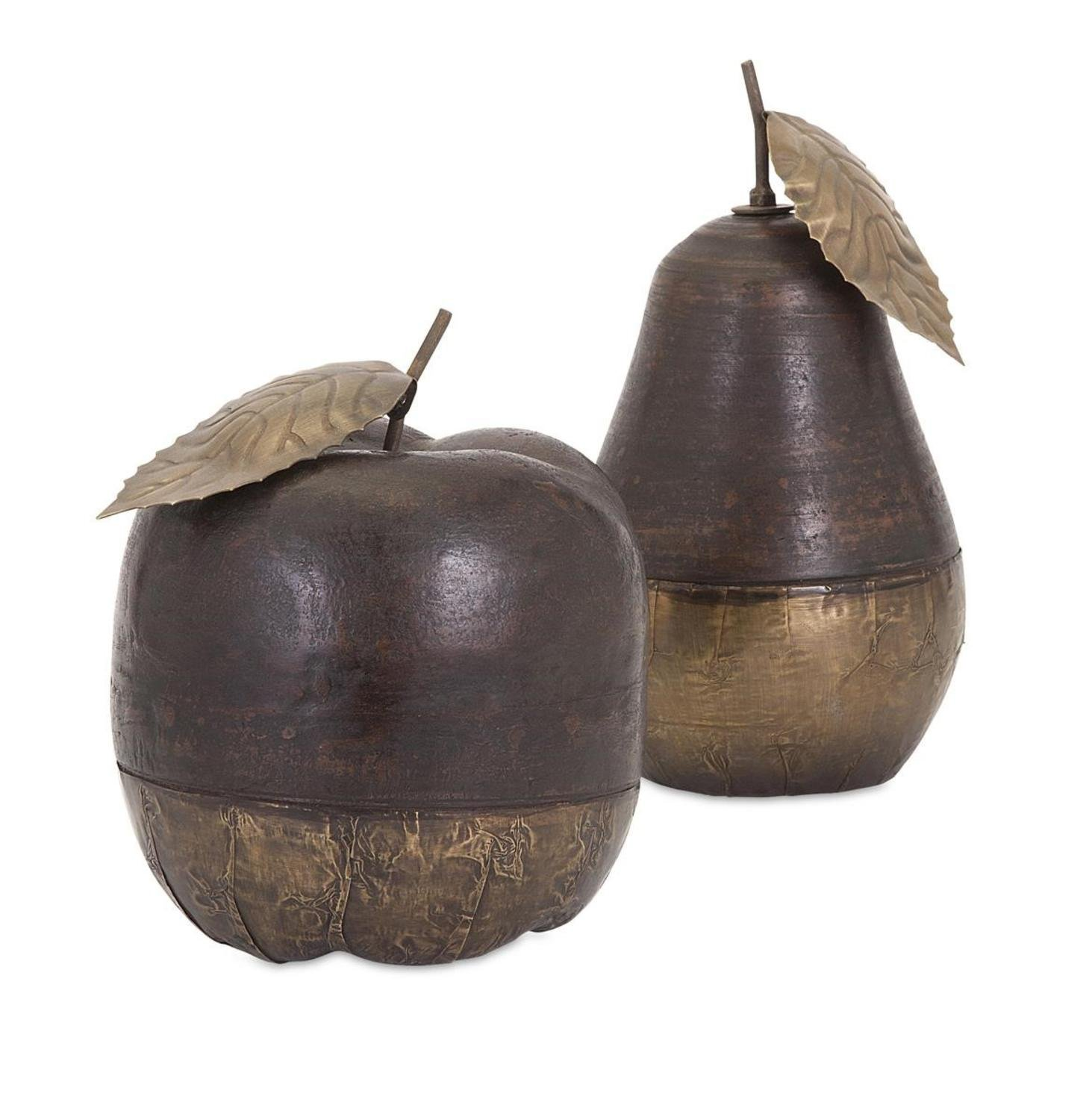 CC Home Furnishings Set of 2 Fructus Wood and Terracotta Brass Decorative Apple and Pear