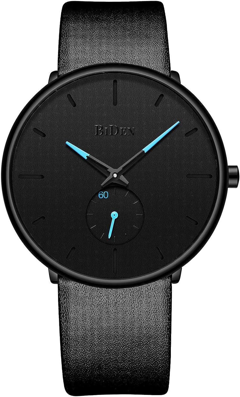 Amazon.com: Men's Fashion Watches Ultra-Thin Quartz Analog Wrist Watch 30M  Waterproof with Black Leather Band: Watches