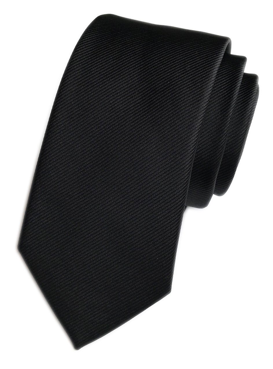 Elfeves Men's Repp Black Silk Tie Fine Striped Jacquard Woven Working Necktie