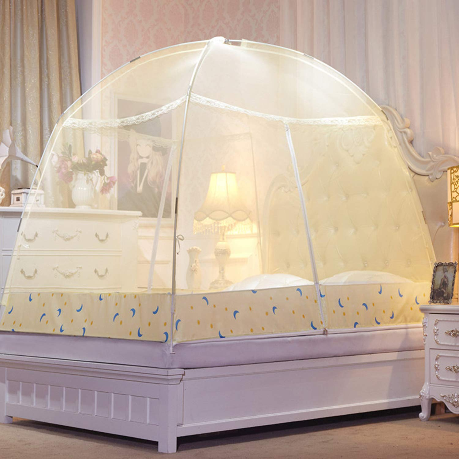 Romantic Purple Dome Mosquito Net Double Door Polyester Fabric Bed Netting Canopy Mosquito Netting Folding Netting Tent Bed,White,1.5m (5 feet) Bed by SuWuan mosquito net (Image #3)