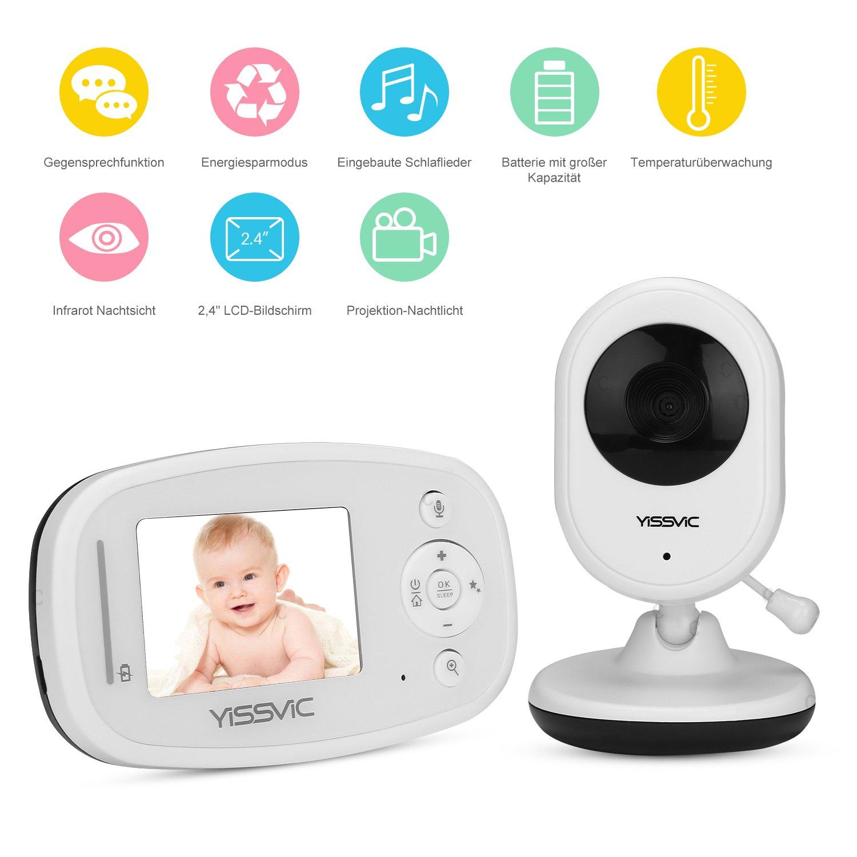 Babyphone Babymonitor 2, 4 LCD Display Infrarot-Nachtsichtkamera Eco-Modus mit Gegensprechfunktion und Temperatur von Yissvic Earthly Paradise