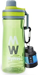 MY WAY Protein Shaker Bottle - 27 Ounce Leak Proof Protein Blender with Mesh Filter - Handle and Attached Lid - BPA Free with Protein Powder Container - Green