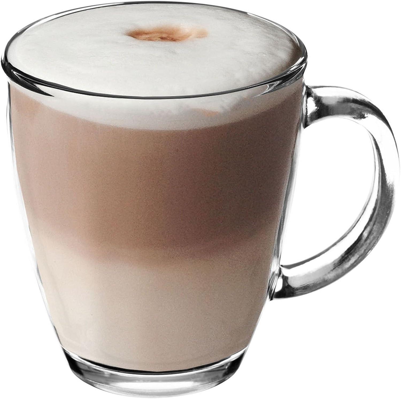 Get Goods 350ml Latte Glasses Thick Toughened Glass Mugs Coffee Tea Espresso Cappuccino Dishwasher Safe 1 Glass Amazon Co Uk Kitchen Home