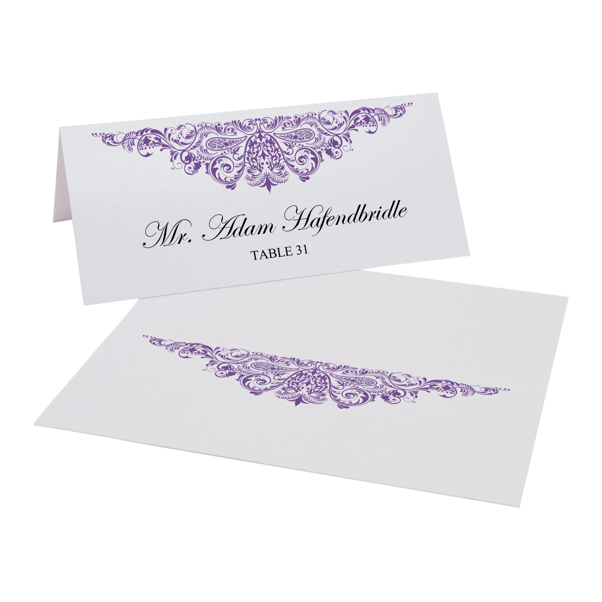 Documents and Designs Paisley Easy Print Place Cards, Purple, Set of 150 (25 Sheets)