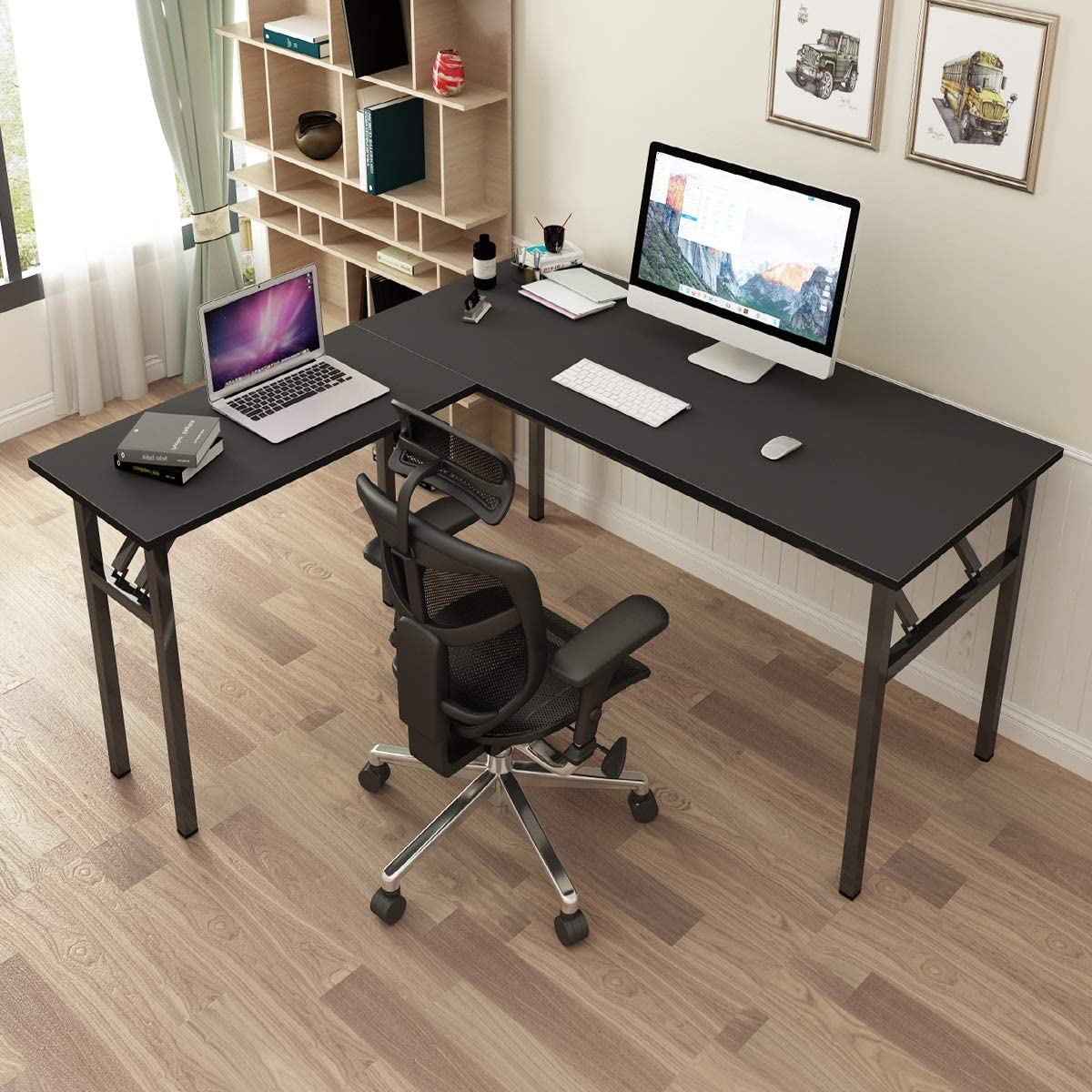 SogesPower L-Shaped Computer Table Home Office Desk Computer Desk Multifunctional Desk Workstation, Meeting Desk, Large Study Desk, Studio Table, Black, SPND-AC11CB