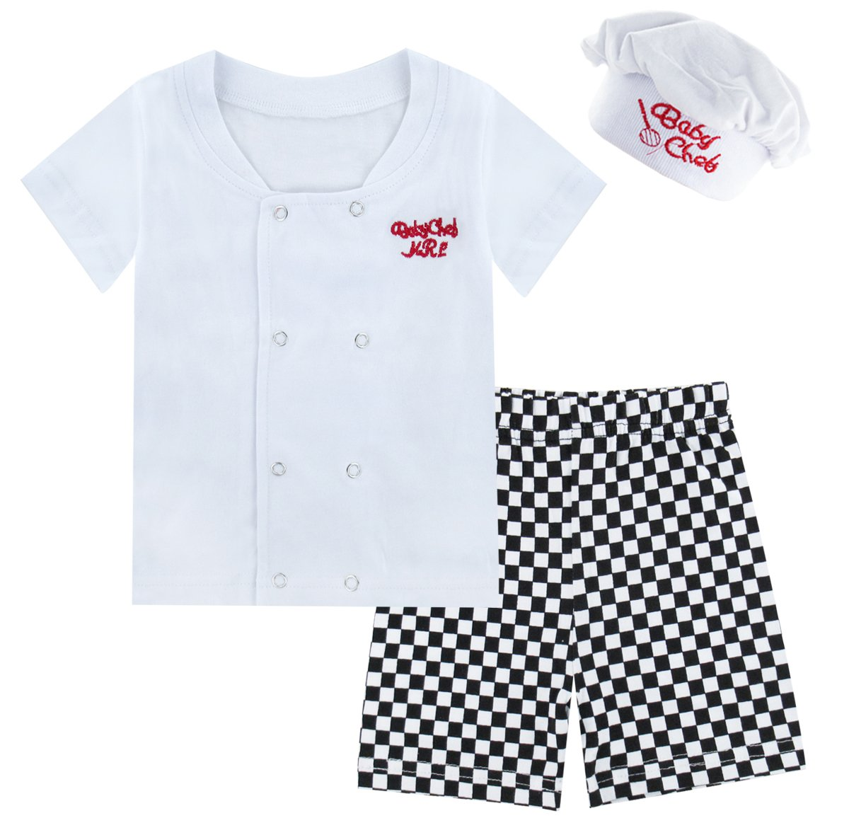 Mombebe Baby Boys' 3 Pieces Chef Short Clothing Set with Hat (0-6 Months, Short Sleeve)