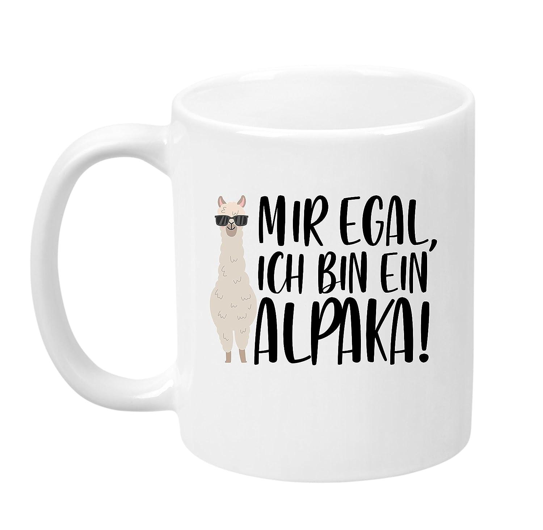 TassenTicker Egal, Ich Bin Ein Alpaka!'' - Hochwertige Qualität - Kaffeetasse - Geschenke - Tasse mit Spruch - Alpaka - (Schwarz)