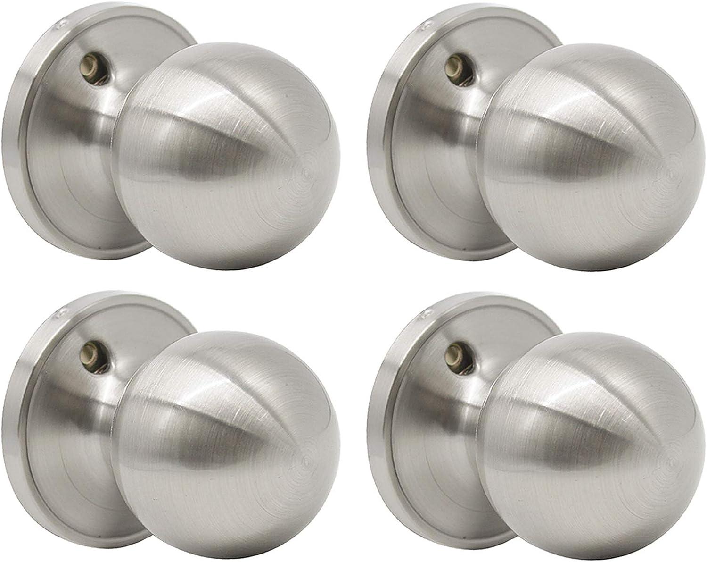 Probrico Poign/ée de porte ronde en acier inoxydable Nickel satin/é