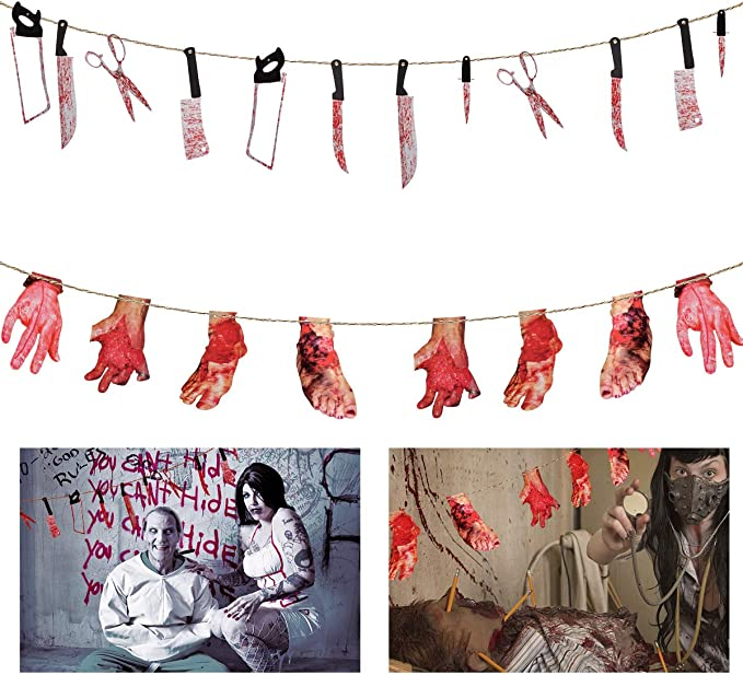 Qic 16Pcs Halloween Blood Weapon Garland Banner Props DIY Scary Bloody Hands Decorations Supplies for Haunted House Vampire Zombie Theme Hanging Supplies