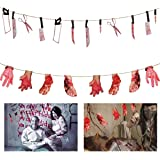 ANPHSIN 2 Set Scary Halloween Decorations - Halloween Bloody Weapon Garland Props, Bloody Hands and Feet Hanging Banner…