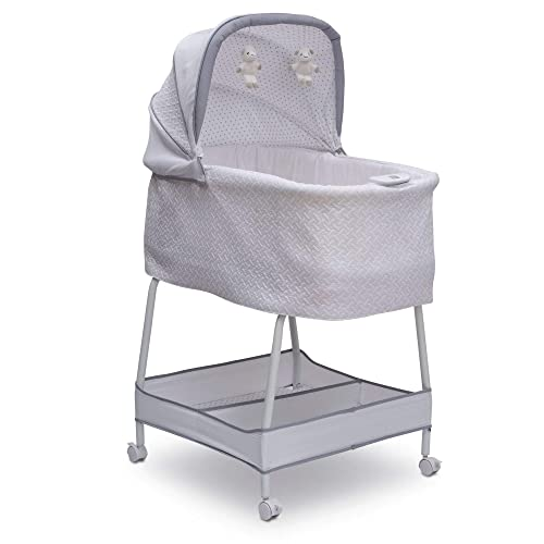 Simmons Kids Elite Hands-Free Auto-Glide Bedside Bassinet – Portable Crib Features Silent, Smooth Gliding Motion That Soothes Baby, Basketweave