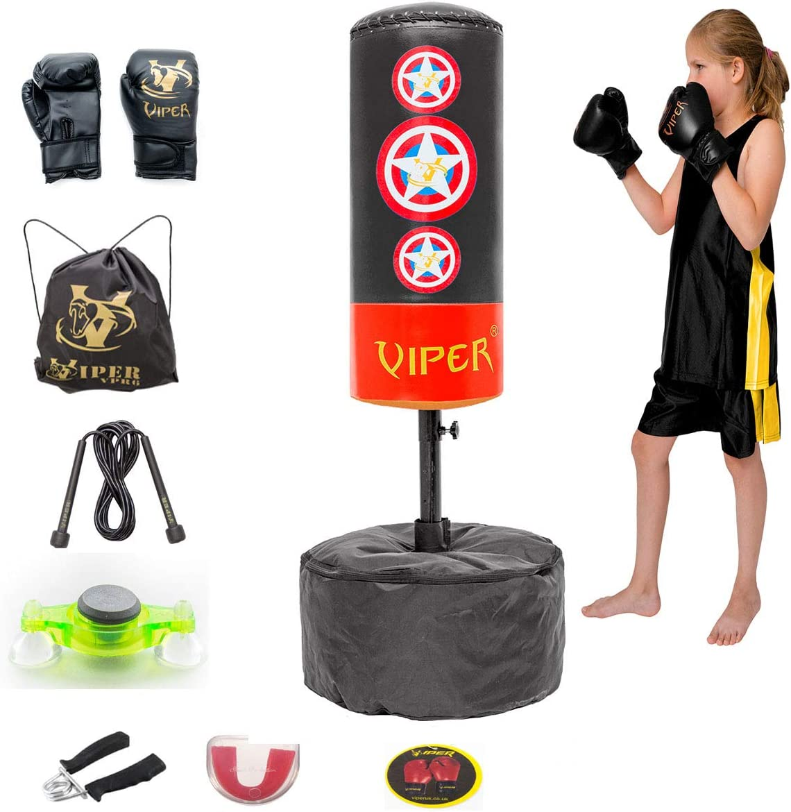 Boxing Free Standing Punch Bag Set Mma Martial Arts Fitness Gym Viper Gloves 11