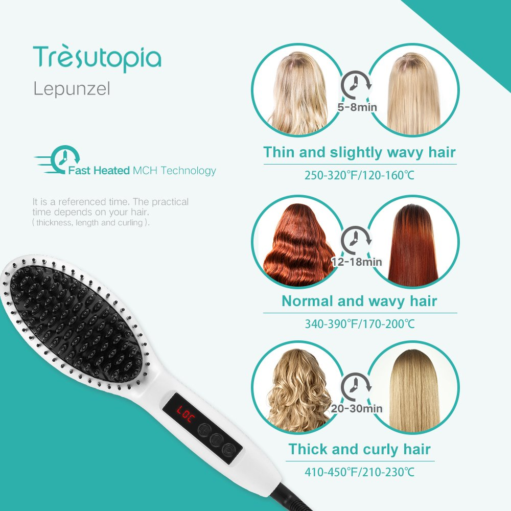 Tresutopia Ionic Hair Straightening Brush with Fast Heated MCH Technology, Anti-Scald and...