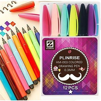 Amazon Plinrise Hm 003色彩中性ボールペン 12色透明のプラスチック