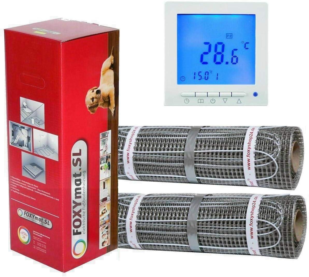 mit Thermostat QM-BLUE 160 Watt pro m/² 2 x 8m/² elektrische Fu/ßbodenheizung FOXYMAT.SL 16 m/²