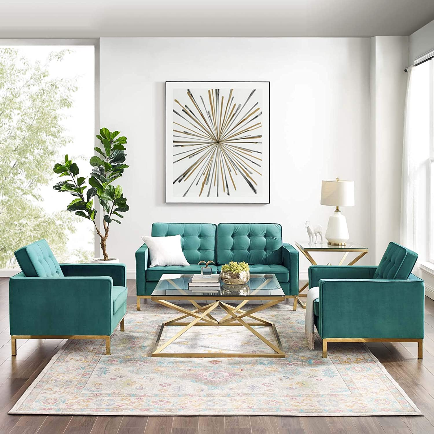 Amazon Com Modway Loft Living Room Furniture Sets Gold Teal Furniture Decor