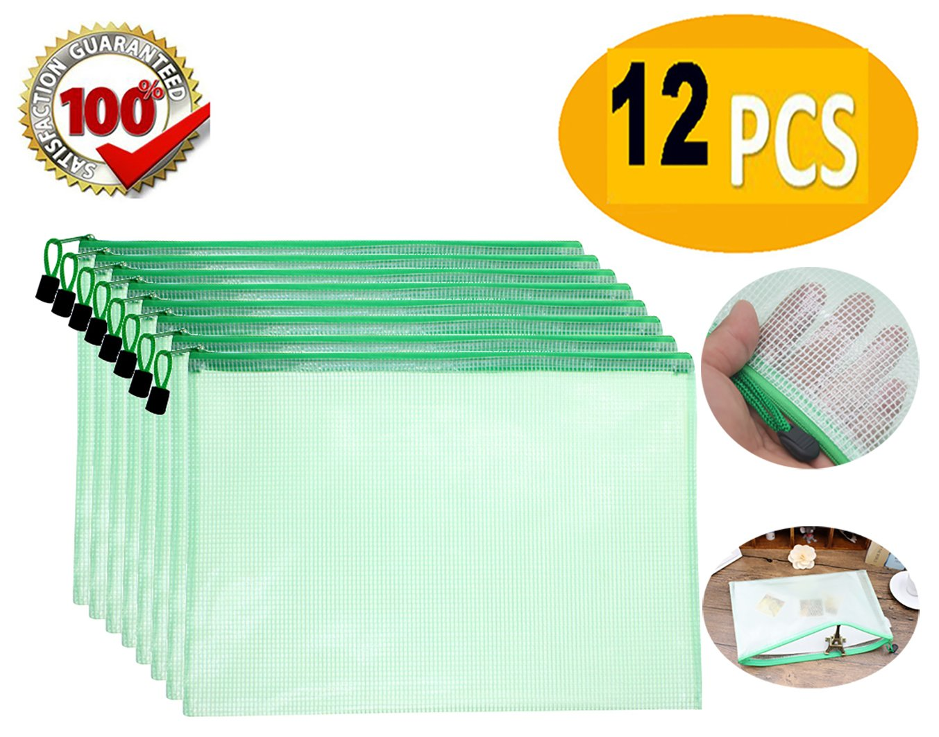 Zipper File Bags Mesh Zipper Bag Document Pouches Waterproof Poly Envelope Travel Pouch Plastic File folder Organizer Office Documents Bag A4 Paper Size Plastic with Zipper Closure -12 Pcs (Green) by SLanC (Image #1)