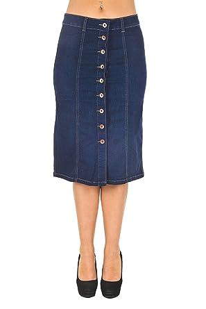 f7d7723ac Women's Juniors Knee Length Button Down Midi Stretch Denim Skirt in Dark  Blue Size M