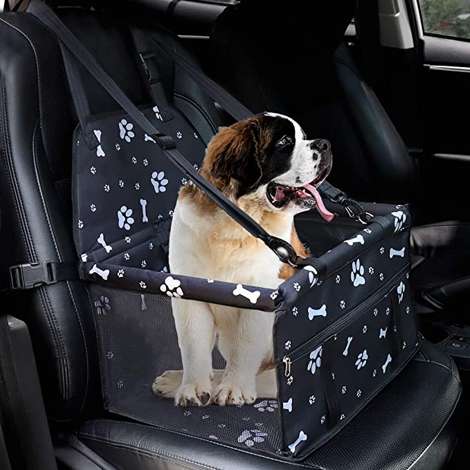 Adjustable Straps Waterproof Puppy Car Seat Safe and Comfortable Collapsible Pet Dog Booster Car Seats Pets Travel Cars Carrier Bed with Zipper Storage Pocket Black, US Direct