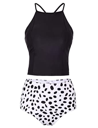 53deee8569 Verano Playa Women Lace Up Tankini Swimsuit Criss Cross Back High Neck Two  Piece Bathing Suit