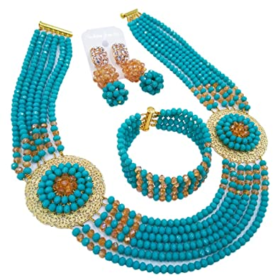 2a644fbc75f2d0 aczuv Nigerian Beads Jewelry Set African Necklaces for Women Crystal Bridal  Wedding Jewelry Sets (Aqua