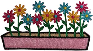 ID 6213 Multi Colored Flowers In Box Patch Garden Embroidered Iron On Applique