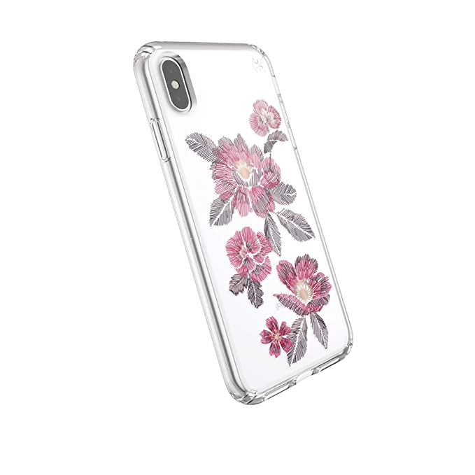 watch 23b41 eaa89 Speck Products Presidio Clear + Print iPhone Xs Max Case, EmbroideredFloral  Fuchsia/Clear