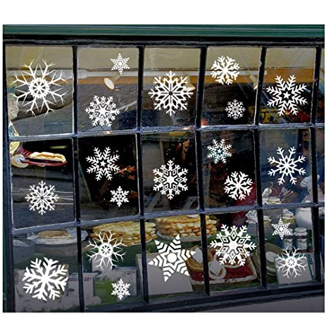 Amazoncom Pcs Snowflakes Window Clings Stickers Christmas - Snowflake window stickers amazon