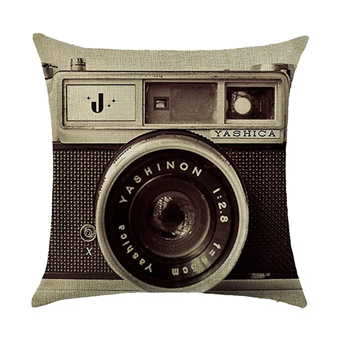 Almohada Funda De Cojín Retro Vintage Cámara algodón sofá cojín decoración Cojín Auto Home Decor 45 x 45 cm (sin cabeza Núcleo) 2
