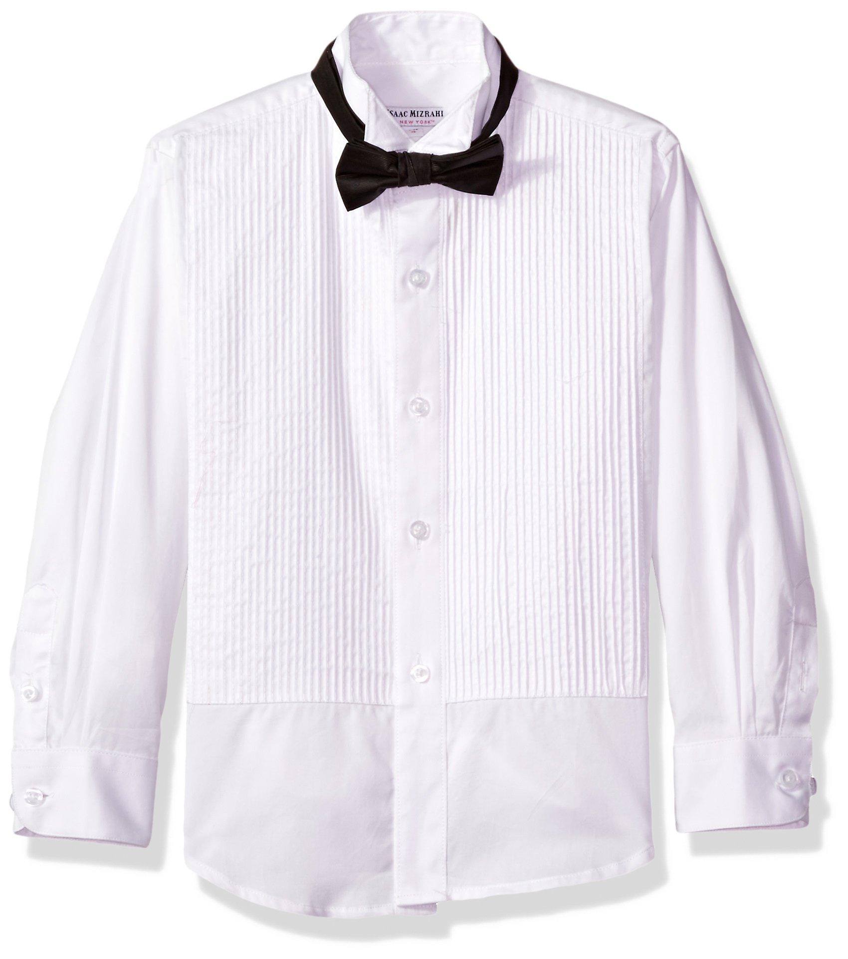 Isaac Mizrahi Big Boys' Cotton Tuxedo Shirt and Bow Tie, White, 12