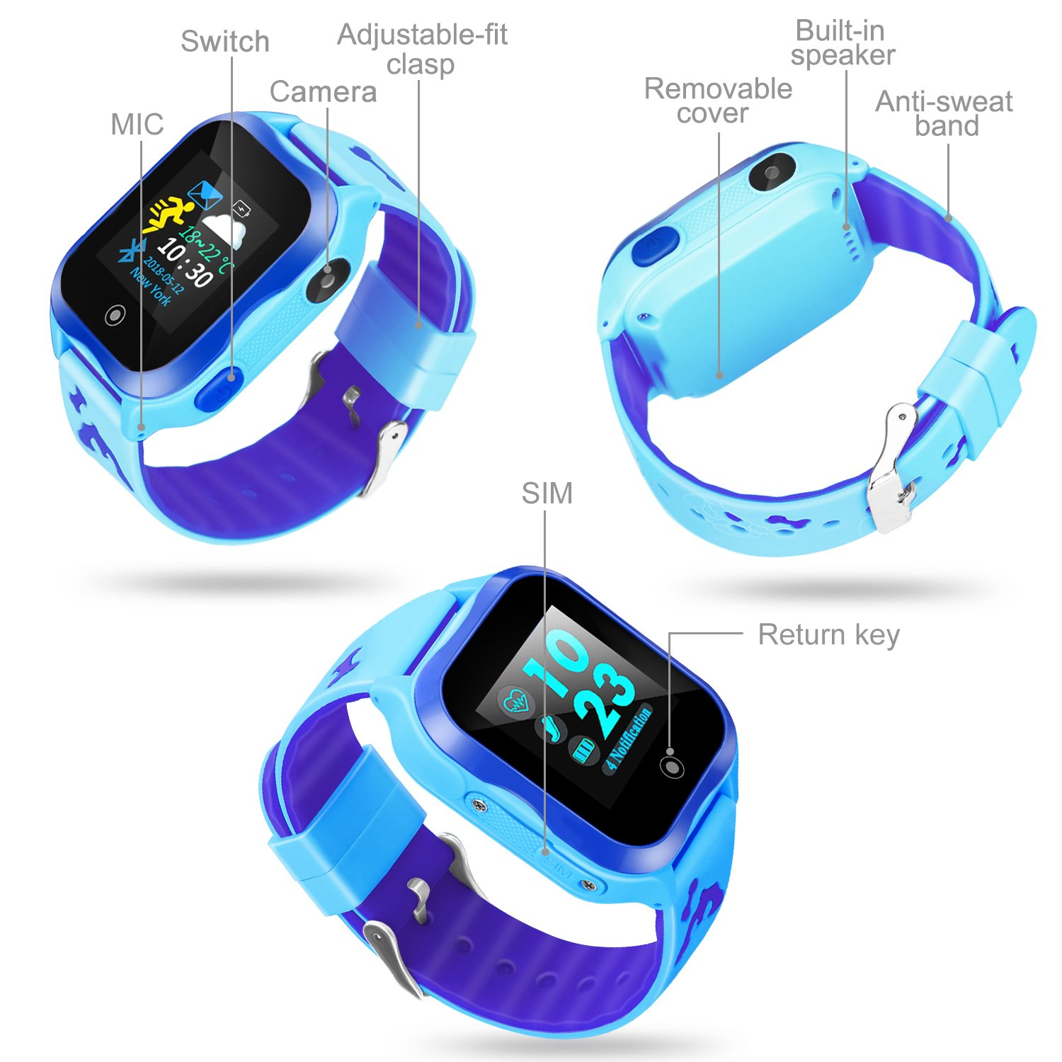 LJRYCQSSZSF Kids Smart Watch Phone GPS Tracker Ip67 Waterproof Kids Smartwatches Age 3-15 Boys Girls Touch Screen SIM Slot Educational Toys Phone 1.44 Inch Birthday Gift (Blue) by LJRYCQSSZSF (Image #2)