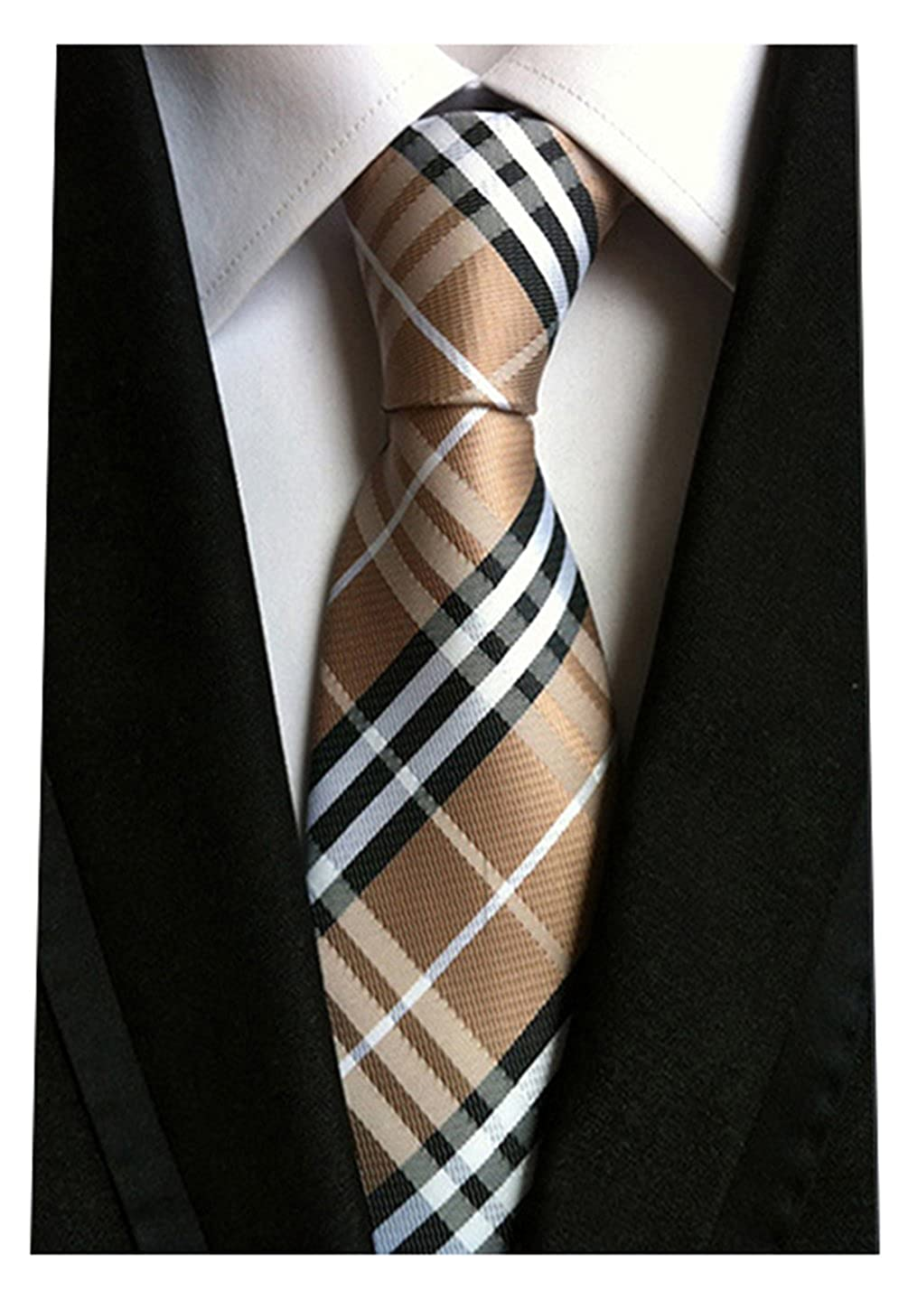 Pink Silver Grey Silk Woven Classic Check Men's Business Tie Necktie Plaid Ties Brown One Size NEW16432023