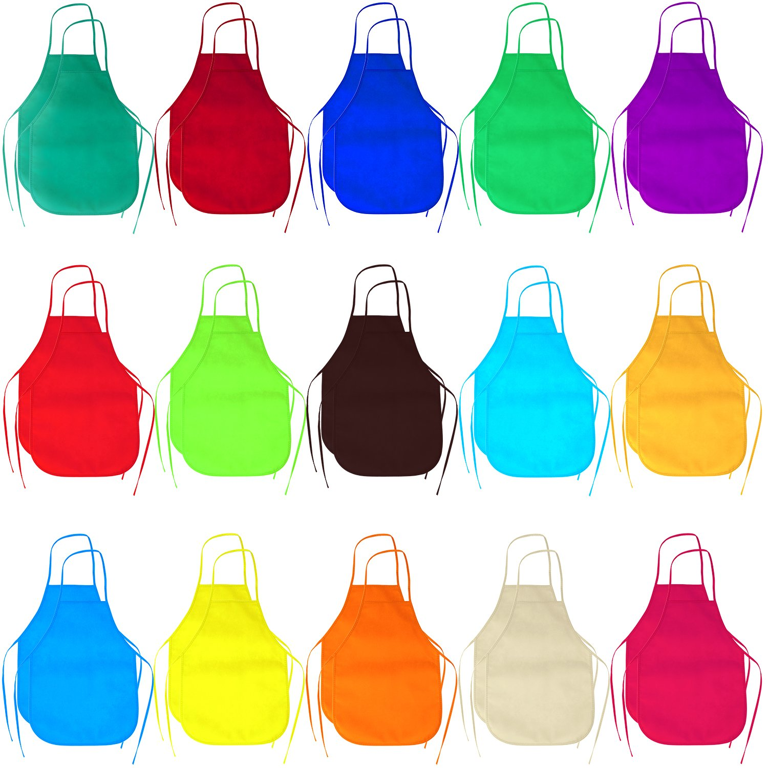 Elcoho 30 Pack 15 Colors Children's Non-woven Artists Fabric Aprons Preschool Kids Reusable Apron for Painting Dining and Craft