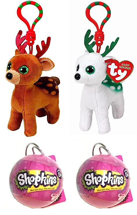 64b755ea81d Amazon.com  Christmas Gift Bundle! Ty Beanie Babies Tinsel   Peppermint  Clips PLUS TWO Shopkins Christmas Baubles!  Toys   Games