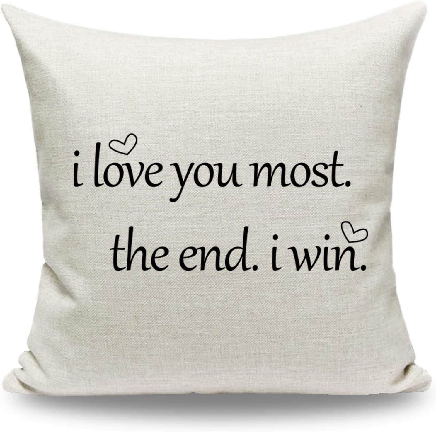 CARRIE HOME Love You More Pillow Covers 18x18 Love Gifts for Girlfriend Decorative Throw Pillow Cover for Home Sofa Couch