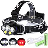 Laluztop Rechargeable LED Headlamp Flashlight, Brightest Waterproof Headlight with White & Warm White and Red Lights, 8 Lighting Modes Head Lamp for Camping Running Hiking Reading Fishing