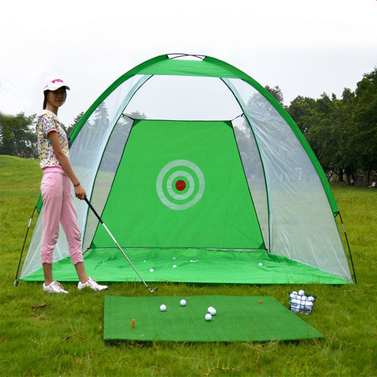 Hi-Pro Foldable Golf Practice Driving Chipping Hitting Net System Aid Training Cage