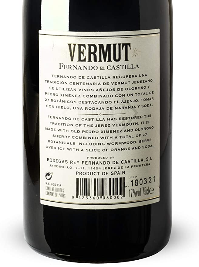 Vino Vermut de Bodegas Fernando Rey Fernando de Castilla de ...