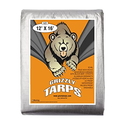 B-Air Grizzly Tarps - Large Multi-Purpose, Waterproof, Heavy Duty Poly Tarp Cover - 10 Mil Thick (Silver - 12 x 16 Feet)