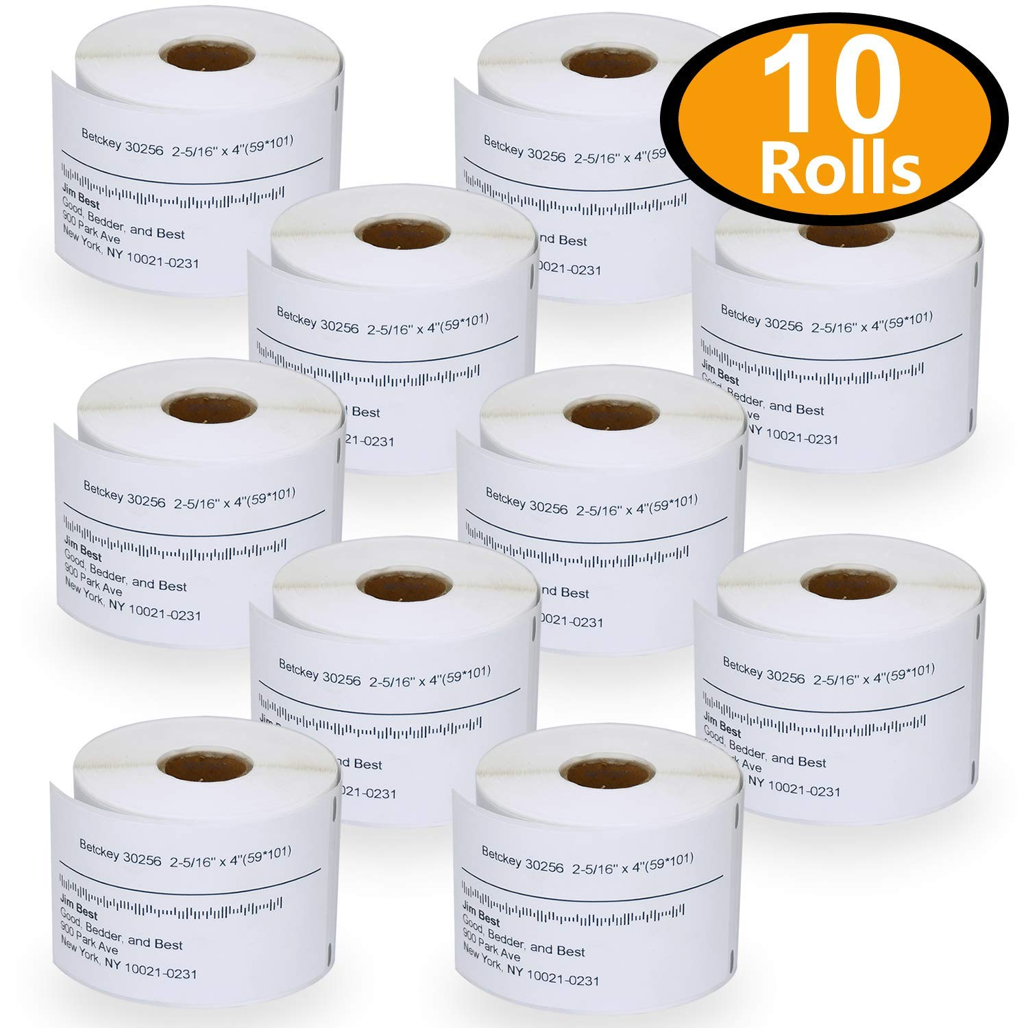 10 Rolls DYMO 30256 Compatible 2-5/16 x 4(59mm x 101mm) Large Shipping Labels, BPA Free BETCKEY DY30256-10