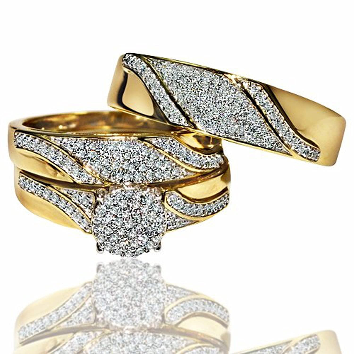 His and Her Rings Trio Wedding Set Yellow Gold 12cttw Diamonds