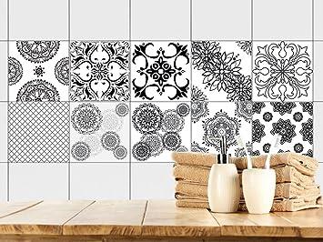 GRAZDesign 770349_10x10_FS10st Fliesenaufkleber Mandala | Fliesen Zum  überkleben Im Bad Und Küche | Schwarz Weiß
