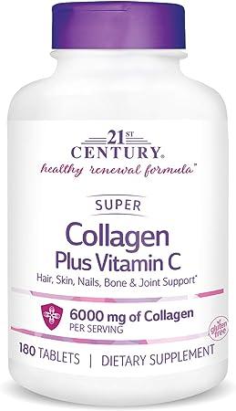 21st Century Super Collagen Plus Vitamin C Supplements, 180 Count