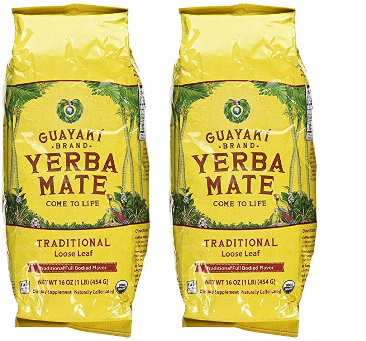 Guayaki Traditional Organic Yerba Mate, Loose Tea, 16 Ounce (Traditional, 2 bags)