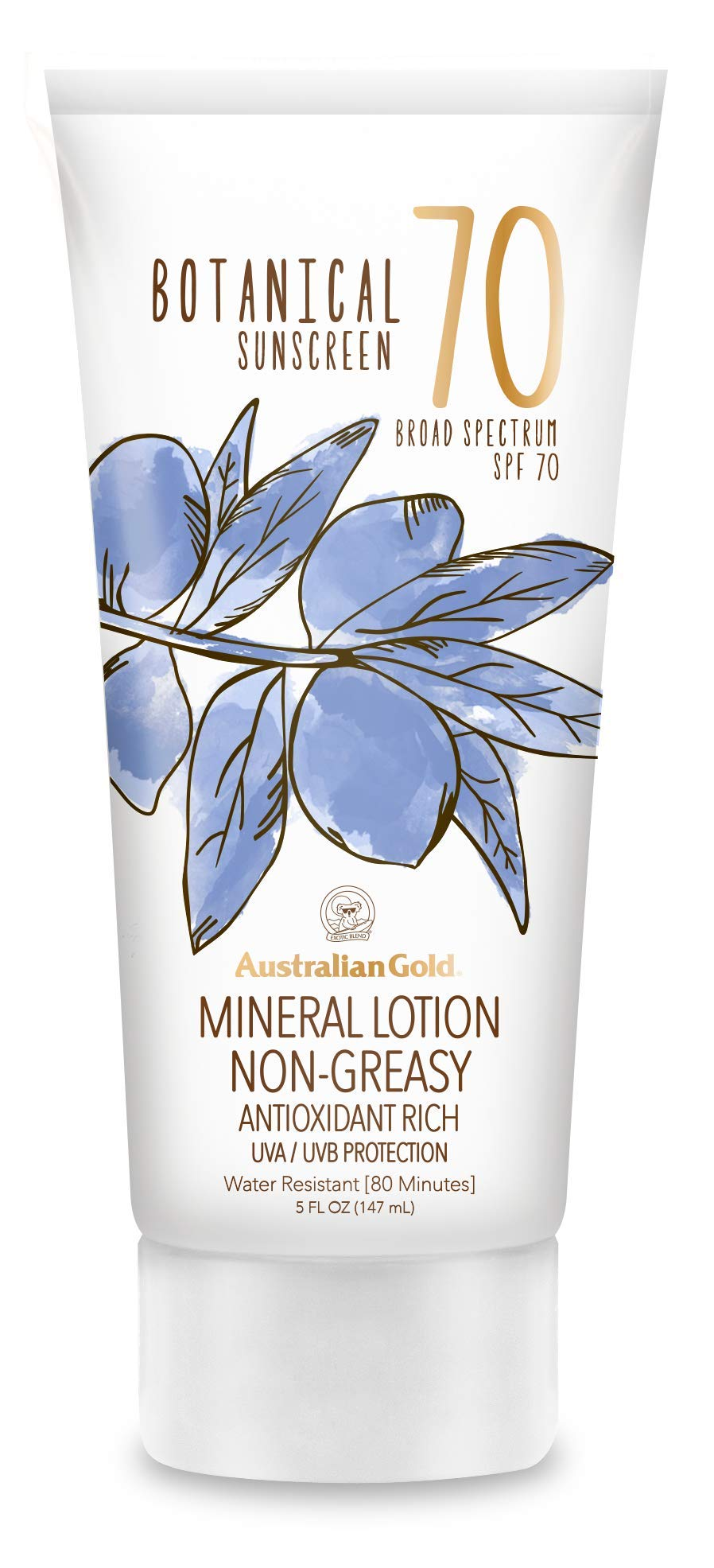 Australian Gold Botanical Sunscreen Mineral Lotion, Broad Spectrum, Water Resistant, SPF 70, 6 Ounce by Australian Gold