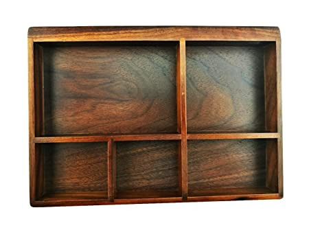 American Black Walnut Wooden Tray Organizer 5 Compartment Drawer