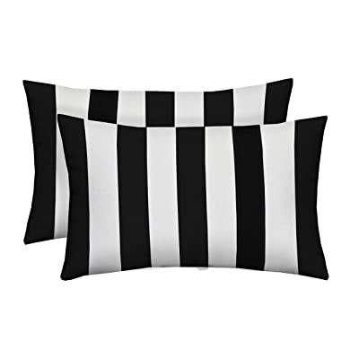 Resort Spa Home Decor Set of 2 Indoor/Outdoor Decorative Lumbar/Rectangle Pillows - Black and White Stripe : Garden & Outdoor
