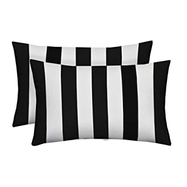 Set of 2 Indoor / Outdoor Decorative Lumbar / Rectangle Pillows - Black and White Stripe